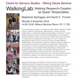 WalkingLab Public Lecture at Concordia University