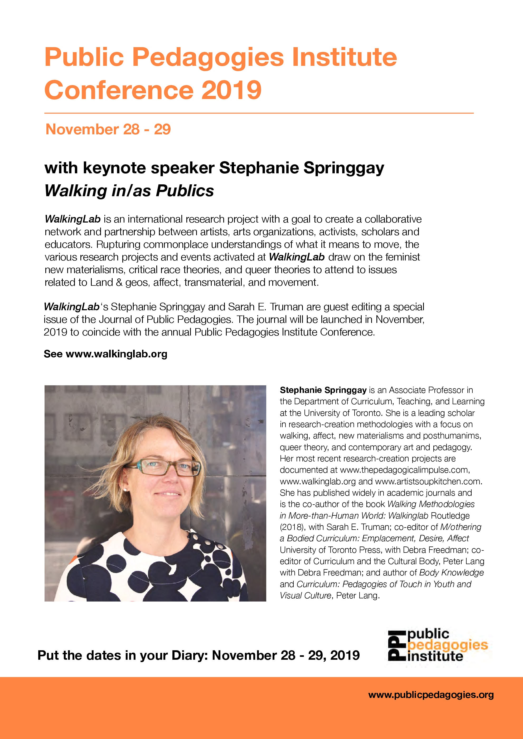 Mark your Calendars! WalkingLab Keynote Alert.