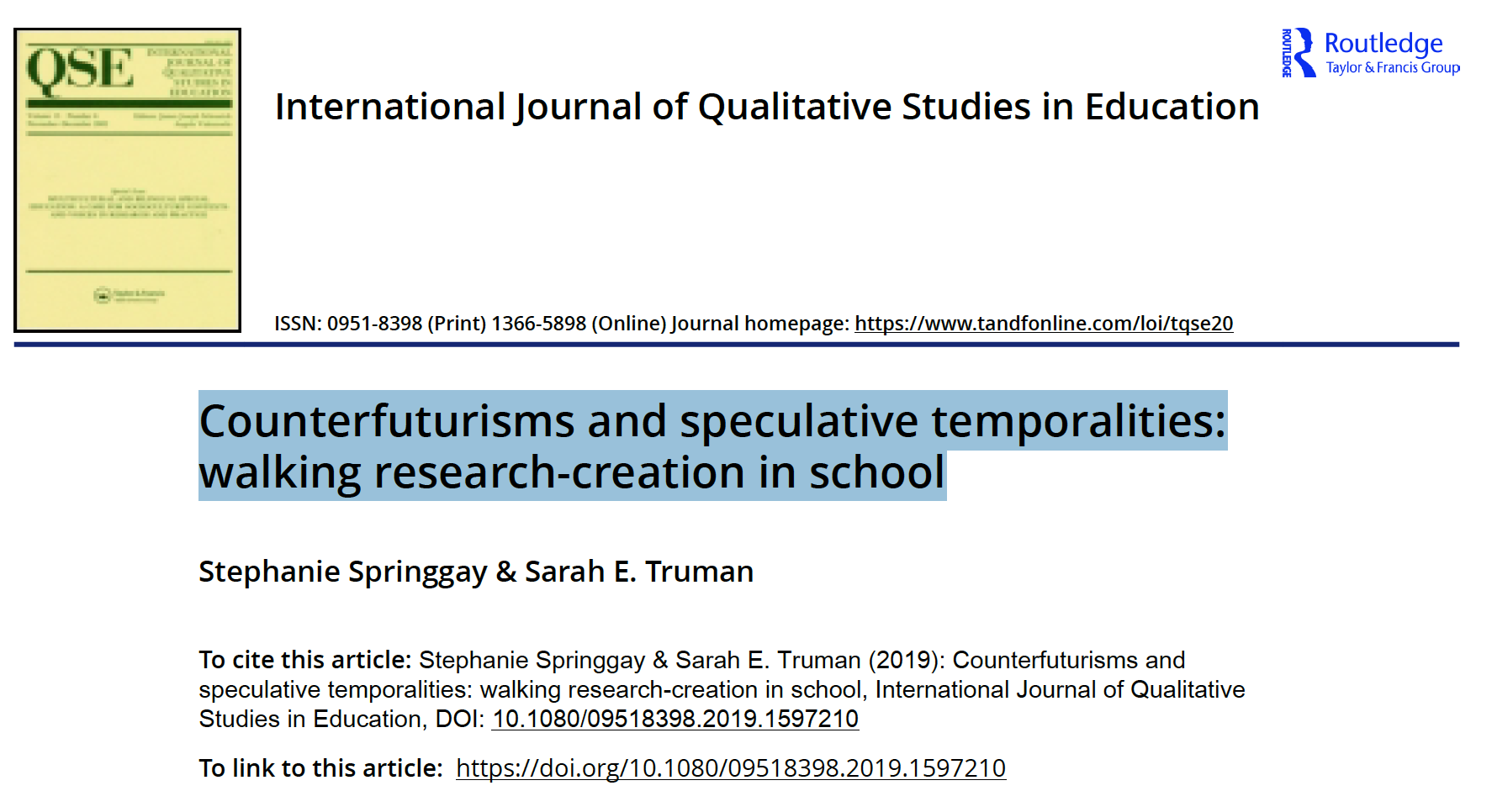 Counterfuturisms and speculative temporalities: walking research-creation in school